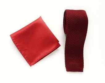 Knitted burgundy skinny tie burgundy pocket square wedding knit tie gift for him groomsmen uk