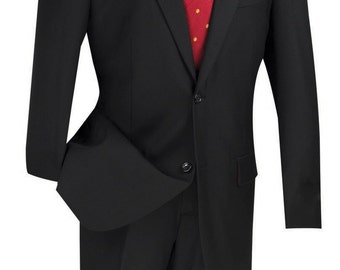Classic-fit men's wool suit 2 piece suit 2 bottons solid black suits new with tag