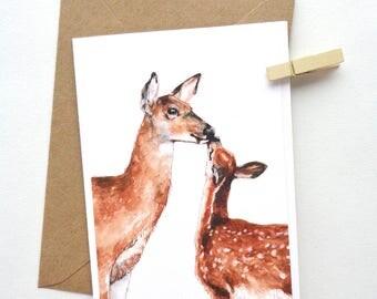 Deer Greetings Card | Blank | Watercolour