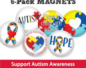 Autism Awareness Magnets • SET OF 6 • Love a Child with Autism • Special Teacher Gift • Autism Puzzle
