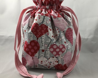 Custom Made Small Drawstring Bag For Knitting, Personalized Gift, Sock Sized Project Bag, Design Your Own, Made to Order, Pick Your Fabric