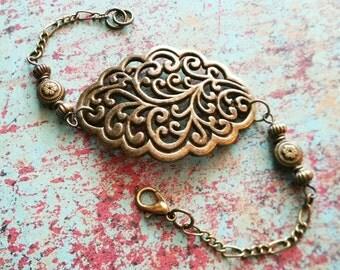Bohemian Bracelet / Bead Bracelet / Victorian Bracelet / Bronze Bracelet / Vintage Bracelet
