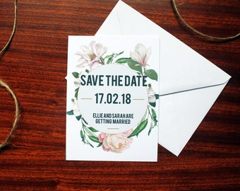 Botanical Geometric Save the Date Wedding Invitations A6 with Plain White Envelope