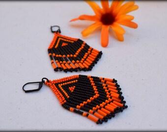 Orange Black Fringe Earrings,Beaded Fringe Earrings,Boho Earrings,Short fringe earrings,Seed bead earrings,Nickel Free,Gift,statement