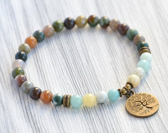 6mm Tree of life bracelet|Gift|for Mom|Indian agate bracelet|Amazonite bracelet|Tree of life jewelry|Womens bracelet|Grandmother gift