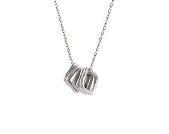 Alchemilla   *    Artisan Silver Necklace, Delicate Sterling Silver Necklace, Minimalist Geometric Necklace, Dainty Silver Necklace