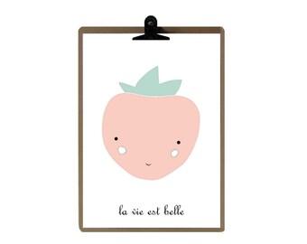 Strawberry nursery print - Pink color Nursery art prints - baby nursery decor - nursery wall - Children Art - Kids Room