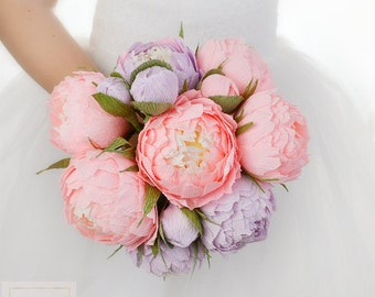 Pink Flowers Pink Peonies Wedding Bouquets Paper Wedding Bouquet Bridal Bouquet Bridesmaids Bouquets lilac Paper Flowers Peonies Decor