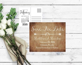 Save The Date Postcard- Save The Date Calendar- Rustic Save The Date- Save The Date Invite- Wedding Announcement- Printable Save The Date-