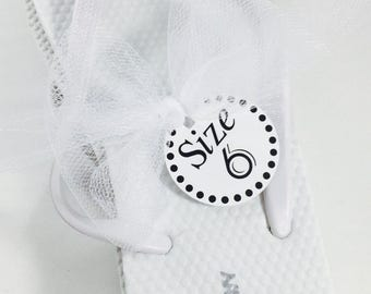 Wedding Flip Flops, Size Tags, Wedding Favors, Dancing Shoes, Shoe Tags, Shoe Size Tags, Favor Tags, Wedding Tags, 20