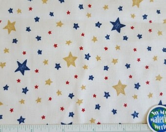 Star Fabric, Navy Red Tan Stars on Off White, Marcus Brothers Fabric, 100% cotton, Quilt, Sewing, Craft, Fabric, OOP, BTY, BTHY