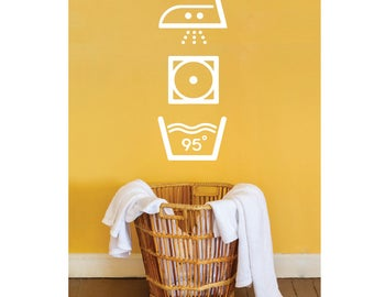 Vinyl sticker mural | decal | laundry room | laundry | textile