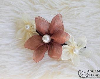 Camilla - Pearl Sheer Organza Flower Hair Clip Barrette