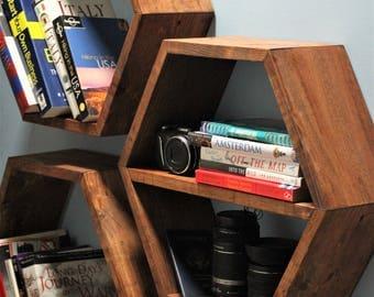 """Honeycomb Shelves, (6"""" depth), Hexagon Shelves, Geometric Shelves"""