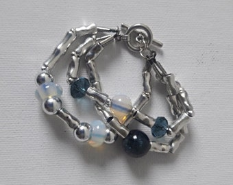 Boho chic Opal beaded cuff silver and blue beads and tubes bracelet, Beaded Bright and Shiny gemstone cuff