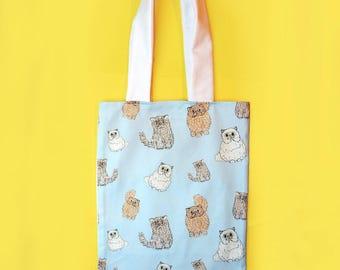Cat tote bag - cat shopper bag - cat pocket bag - cat lover gift - unique cat print bag - mothers day gift - crazy cat lady - cat mum gift