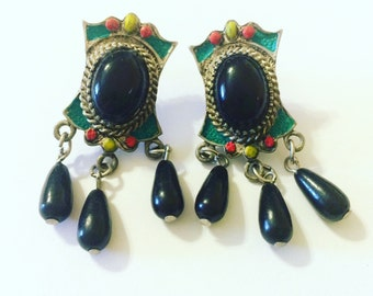 Colorful Vintage Earrings with Black Beads