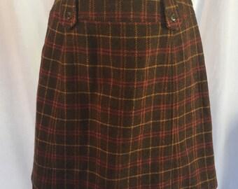 Vintage plaid wool mini skirt