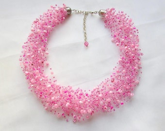 Pink necklace air Beaded necklace  jewelry Multistrand necklace  Beaded jewelry Seed beads necklace Beadwork necklace Bridal choker
