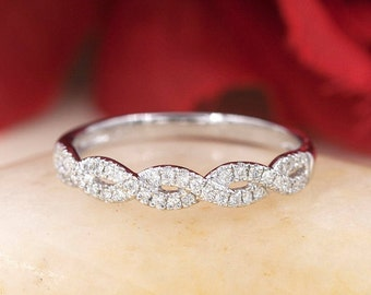 Diamond Wedding Band.Twist Wedding Band.Rose Gold Wedding Band. High Quality Diamond Wedding Band.Micro Pave 14k White Gold Diamond Ring.