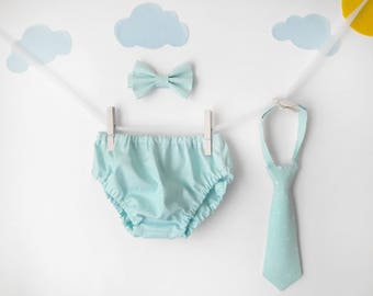 cake smash outfit boy, mint, 1st birthday boy outfit, smash cake boy, baby bowtie, bowtie cake smash, diaper cover tie, toddler bowties, tie