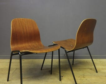 Vintage Ply Moulded Stacking Chairs, Mid Century