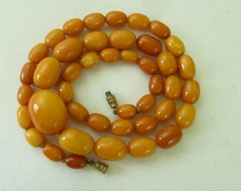 Antique Natural Baltic Amber Bead Necklace 33g Graduated Butterscotch Genuine