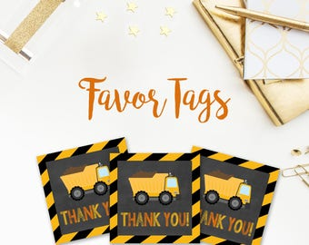Construction Birthday Favor Tags, Construction Party, Construction Birthday, Tags, Favor Tags, Dump Truck, Digital File, Printable, DIY, 088