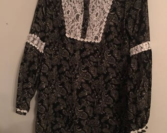 70's Paisley Stevie Nicks Style Dress Size S/M