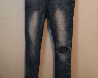 Acid Washed Denim Jeans Size 5