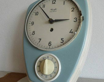 Kienzle Primus wall clock kitchen clock Küchenuhr 60er 60s original fine vintage used clock with timer