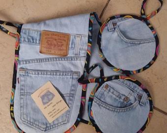 Recycled Levi Denim Jeans Oven Mitt / Pot Holder Set