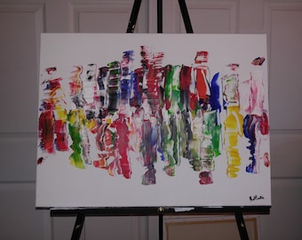 """Original Modern Abstract Painting on Canvas, Acrylic 18"""" x 24"""" One of a Kind"""