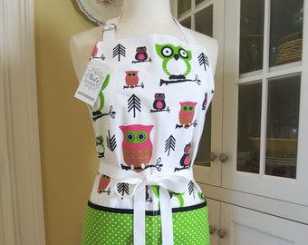 Pink and Green Owl Apron, USA Made Apron, Mrsnateusa Apron, Cute Apron, Owl Apron, Womens Apron, Chef Apron, Full Apron, Apron for Women
