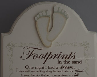 Plaque Footprints In The Sand Gift Plaque Footprints Wall Or Freestanding
