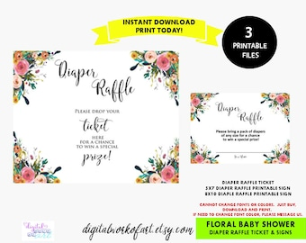 Floral Diaper Raffle Card Printable Set, Baby Shower Raffle Sign, Ticket, Diaper Raffle Sign, PDF Raffle Ticket, PDF Instant Download, Boho