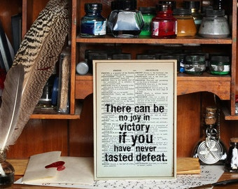 """Inspirational Quote.""""There can be no joy in Victory if you have never tasted Defeat"""" Vintage Dictionary Book Page Print. Superhero Quote"""