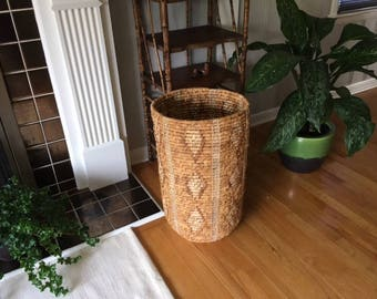Vintage Tall wicker/reed/rush basket with geometric pattern/Bohemian/umbrella stand