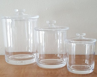 Vintage Acrylic Canisters~Set of 3 & lids