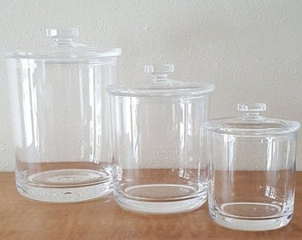 Vintage Lucite Canisters~Set of 3 Mid Century Modern Kitchen Canisters & lids~Lucite Canister Set