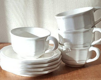 Vintage Pfaltzgraff Heritage Cups and Saucers~ 4 Sets Pfaltzgraff White Stoneware~Farmhouse Kitchen Coffee Cups and Saucers