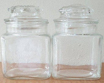 Vintage Apothecary Jars~Glass Canister Set of 2~Storage Jars~Clear Glass Storage Jars~Two Jars with no Seal