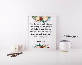 Bible Verse Printable Scripture Decor Psalm 23:4 Christian Printable Instant Download 8 x 10 Psalm 23 Bible Verse Wall Art