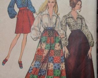 1960s Simplicity 8550 Boho Blouse, Skirt, Palazzo Pants Vintage Pattern, size 12