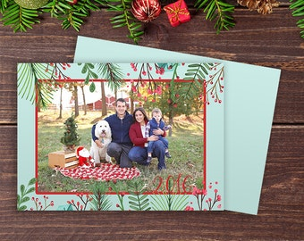 Blue Watercolor Christmas Card | Holiday Card