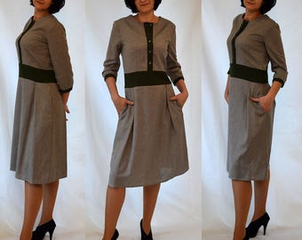 SALE  Shirt style, grey, green, A line, with side pockets, comfortable, elegant, casual dress Size UK 12, 14 / US 8, 10