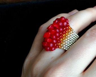 Striking Coral Ring Beaded Jewelry Wide Ring Silver Natural Coral Red Ring Raw Stone Ring