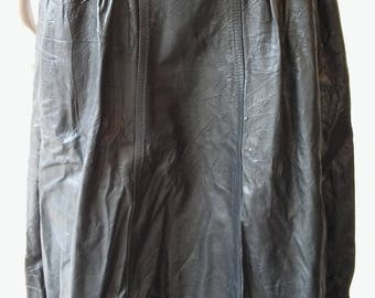 black leather 80's 3/4 length skirt
