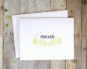 Handmade Merci Card - French Thank You Card - Handmade Card in French - Hand Stamped Thank You Card - Hand Made Elegant Embossed Card