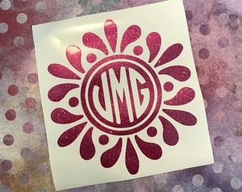 Flower Glitter Monogram Decal